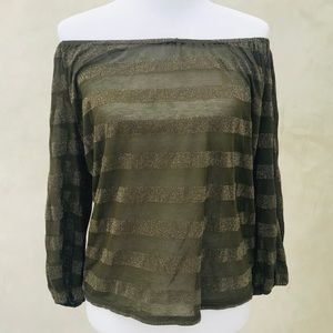 Michael Stars Green Gold Off-Shoulder Top OS NWT